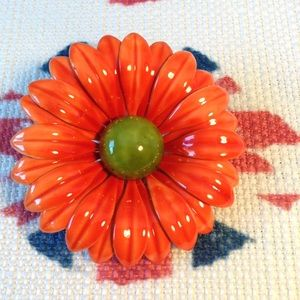 Vintage Orange & Green Enamel Daisy Pin/Brooch